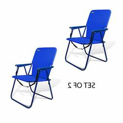 15 inch High Seat Steel Camping Beach Backpack Chair - Set o