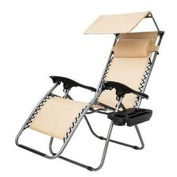 1PC Zero Gravity Folding Patio Lounge Beach Chair w/ Canopy