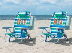 2 Tommy Bahama Backpack Beach Chair Green 5 Positions Capaci
