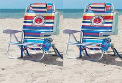 2 Tommy Bahama Backpack Beach Chair, Multi 5 Positions Capac