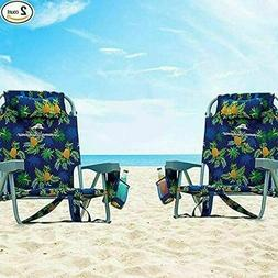 2 Tommy Bahama Backpack Beach Chairs Blue/Pineapple - BRAND