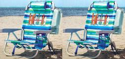 2 Tommy Bahama Backpack Beach Chairs Lays Flat 5 Positions C