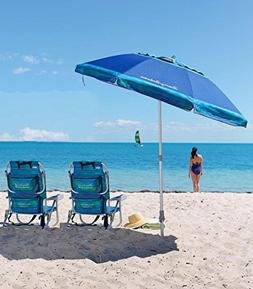 2 Tommy Bahama Beach Chairs + 7' Umbrella BLUE - 2018