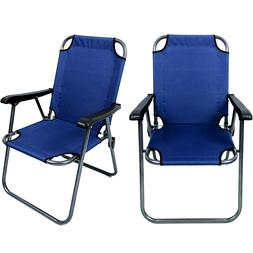 2 Blue Outdoor Patio Folding Beach Chair Camping Chair Arm L