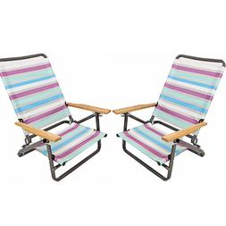 2 Folding Beach Chair Camping Chair Arm Lightweight Portable