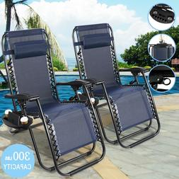2 Folding Recline Zero Gravity Chairs Garden Lounge Beach Ca