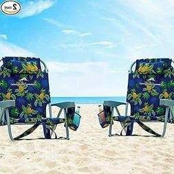 2 PACK | Tommy Bahama Back Pack Beach Folding Deck Chair Blu