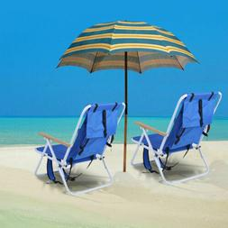 2 Pack Backpack Beach Chair Folding Portable Solid Construct
