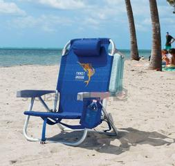 2 Pack of Tommy Bahama Backpack Cooler Beach Chairs- Blue