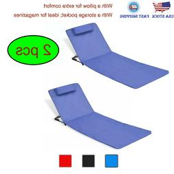 2 pcs Folding Beach Chairs Steel Sunlounger Sun Bed Recliner