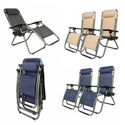 2 PCS Zero Gravity Chair Lounge Patio Chairs Beach Chair wit