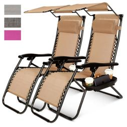 2 Pcs Zero Gravity Folding Lounge Beach Chairs W/Canopy Maga