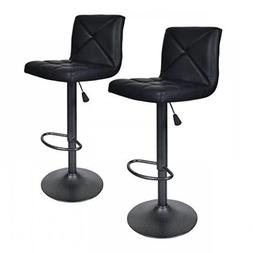 2 PU Leather Modern Adjustable Swivel Barstools Hydraulic Ch