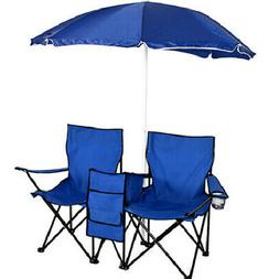 2-Seat Beach Chair W/Umbrella Foldable Camping Fishing Outdo