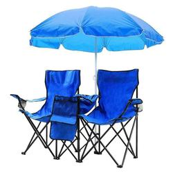 2 Seats Folding Lounge Chairs + Removable Umbrella Outdoor P