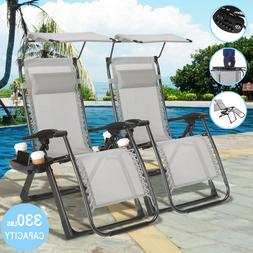 2PCS Folding Zero Gravity Garden Chairs Large Beach Recline