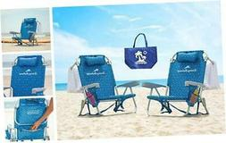 2 Tommy Bahama Backpack Beach Chairs 2016/ Light Blue + 1 Me