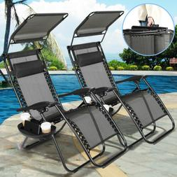 2 x HeavyDuty Reclining Folding Zero Gravity Chair Outdoor G