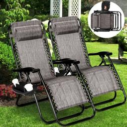 2 Pcs Zero Gravity Folding Lounge Beach Chairs With Trays+Ph