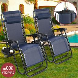 2 Zero Gravity Reclining Chairs Sun Beach Camping Folding Lo