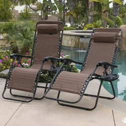 2PC Brown Zero Gravity Lounge Chairs Recliner Outdoor Beach