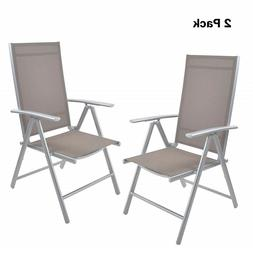2PC High Back Beach Chair 7-position Adjustable Folding Recl