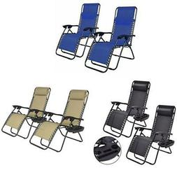 2PCS Folding Zero Gravity Reclining Lounge Chairs Outdoor Be