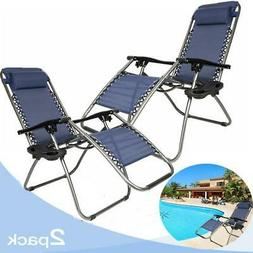 2PCS Outdoor Zero Gravity Lounge Chair Beach Patio Yard Fold