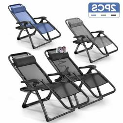 2PCS Zero Gravity Chairs Case Of  Lounge Patio Chair Outdoor