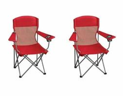 2x Red Camp Chairs for Adults Mens Picnic Travel Beach Women
