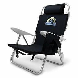 4-Position Lay Flat Beach Chair with Carry Straps & Storage