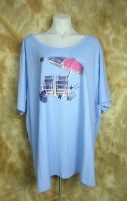 CATHERINES 4X Easy Fit Tee Blue Beach Chairs Print Scoop Pul