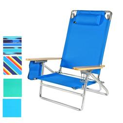 5 pos Big Lay Flat 300 lbs Heavy Duty Beach Chair