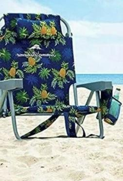 Tommy Bahama 5 Position Beach Chair 2020 Blue with Yellow Pi