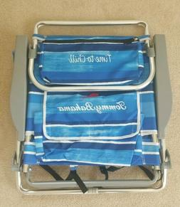 Tommy Bahama 5 Position BLUE STRIPED Backpack Beach Chair wi