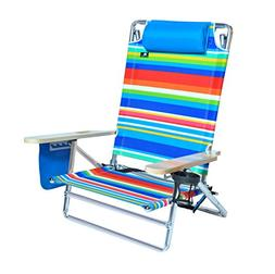 5 position Heavy Duty 300 lbs Lay Flat Beach / Camping Chair