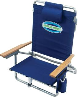 Tommy Bahama 5-Position Lay Flat Beach Chair Navy Blue Free