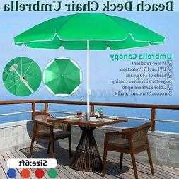 6FT Beach Umbrella Portable Deck Chair Parasol Sunshade Spik