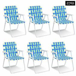 6pcs Folding Beach Chair Camping Lawn Webbing Chair Lightwei
