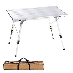 CampLand Aluminum Height Adjustable Folding Table Camping Ou