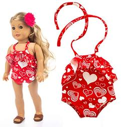 AMOFINY 18 Inch American Girl Doll One-Piece Swimsuit Suitcu