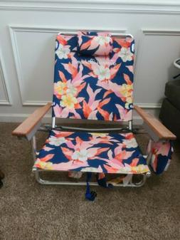 Tommy Bahama Backpack Beach Chair Floral 5 Positions Wooden