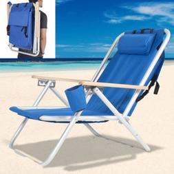 Backpack Beach Chair Folding Portable Chair Blue Solid Campi