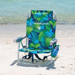 Tommy Bahama Backpack Chair, Orange Flowers and Green-Blue B