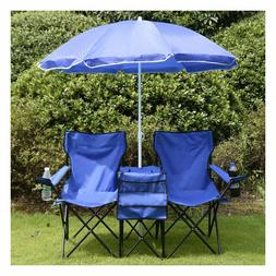 Beach Camping Chair Picnic Double Folding Chair w Umbrella T