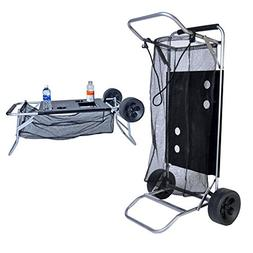 Beach Cart with Folding Table/Drink Holders - Grey Frame/Bla