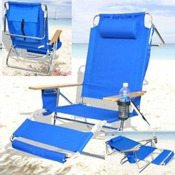 Deluxe 3 in 1 Beach Chair/Lounger w/Drink Holder and Large S