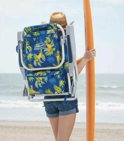 TOMMY BAHAMA BEACH CHAIR BACKPACK BLUE PINEAPPLE COOLER TOWE
