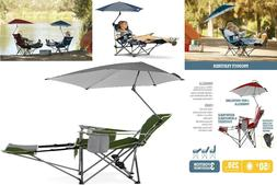 Beach Chair With Removable Umbrella & Footrest 3-Position Re