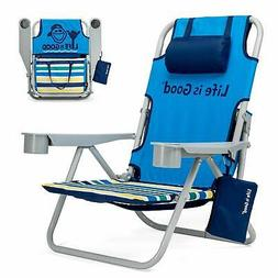 Life is Good Beach Chair with Cooler, Backpack Straps, Stora